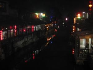 Xitang at night, with lanterns lit.
