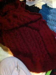 One of my best friends is having her first child, so I thought it only fitting to knit a couple blankets for the new arrival. This first one is red and then the next is going to be dark blue.