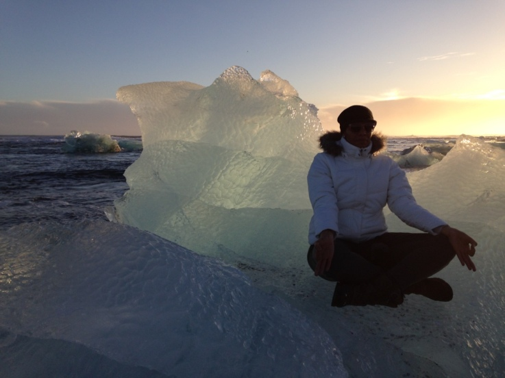 Me playing on a glacier piece.