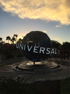 Universal sign at sunset